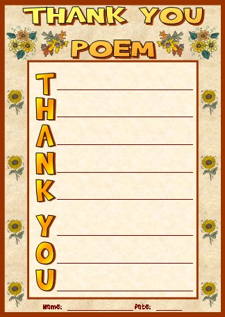 Thank You Acrostic Poems and Poetry Printable Worksheets