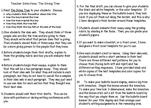 Printables The Giving Tree Worksheets the giving tree lesson plans shel silverstein directions for teachers plans