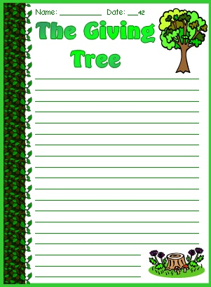 The Giving Tree Fun Final Draft Creative Writing Worksheets and Templates Shel Silverstein