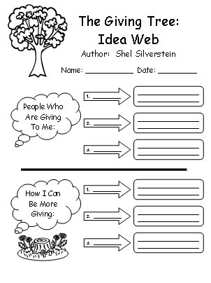 Printables The Giving Tree Worksheets the giving tree lesson plans shel silverstein idea web worksheet creative writing plans