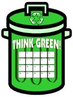 Think Green Reduce Reuse Recycle Garbage Can Sticker Charts