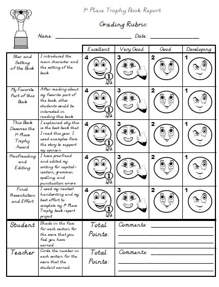 2nd grade biography rubric paragraph writing rubric 3rd for History rubric template