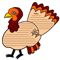 Thanksgiving Turkey Shaped Creative Writing Templates and Worksheets