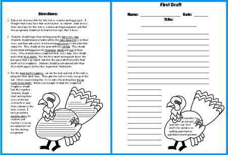 Turkey Creative Writing Set Directions and First Draft