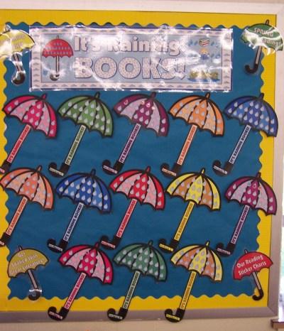 Spring Umbrella Raindrops Reading Sticker Chart