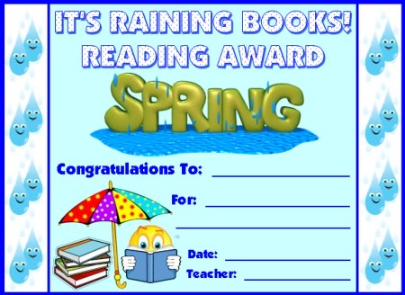Reading Award Certificate for Spring Umbrella Sticker Charts