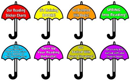 April Spring Reading Bulletin Board Display using Umbrellas