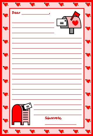 Valentines day teaching resources lesson plans for teachers for valentines day letter writing stationery color printable worksheets spiritdancerdesigns Image collections