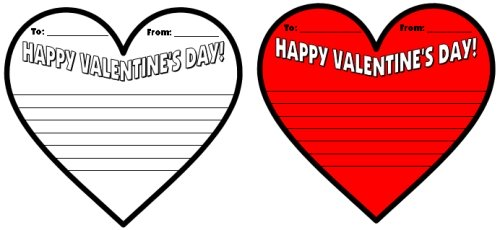 Valentine's Day Cards for Elementary Students Heart Shaped Writing Templates