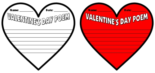 Valentine's Day Poetry Writing Templates and Worksheets