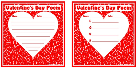 Valentine's Day Poem and Poetry Worksheets