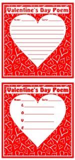 Valentine's Day Poems Printable Worksheets
