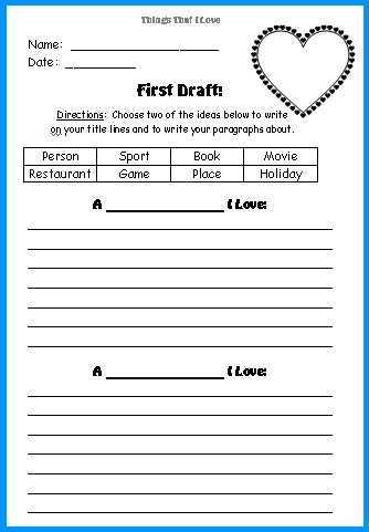 Valentine's Day Things That We Love Creative Writing Printable Worksheets