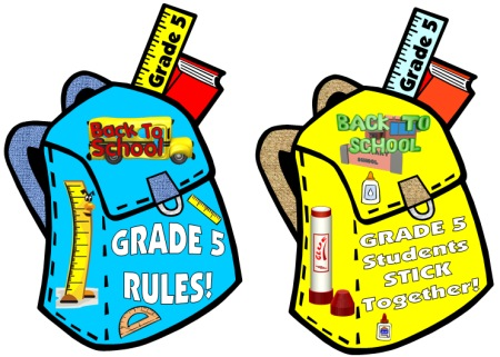 Welcome Back To Grade 5 Student Book Bags Classroom Decorations