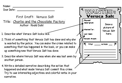 charlie and the chocolate factory lesson plans author roald dahl veruca salt first draft worksheets charlie and the chocolate factory