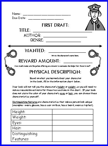 Wanted Poster Book Report Project First Draft Writing Worksheets