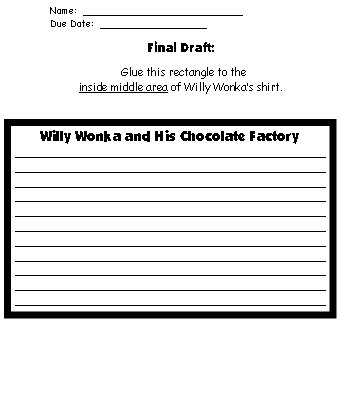 Willy Wonka Character Description Worksheets