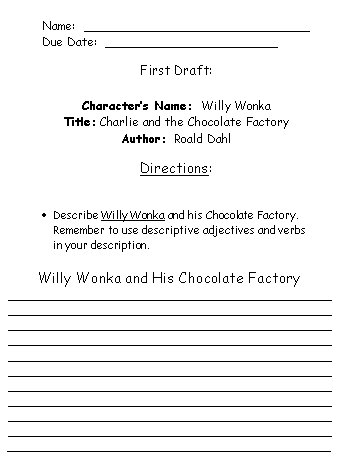 Willy Wonka Projects First Draft Printable Worksheets