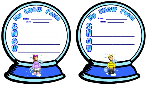 Poetry Lesson Plans, Templates, and Worksheets for Winter Snow Acrostic Poems