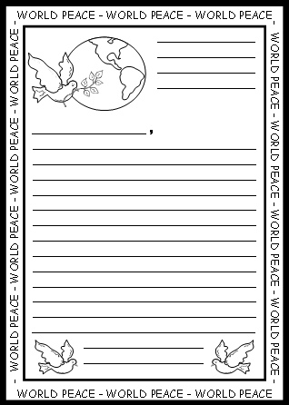 World Peace Letter Worksheets and Stationery