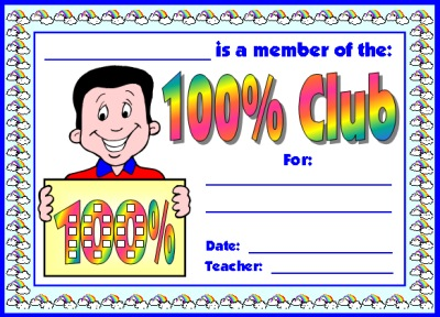 100 Percent Club Student Award Certificate (100% Club)