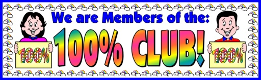 100 Percent Sticker Chart Club Bulletin Board Display Banner