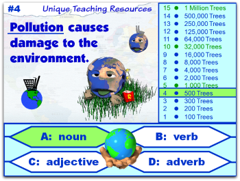 Fun Earth Day powerpoint lesson that reviews nouns, verbs, adjectives, and adverbs.