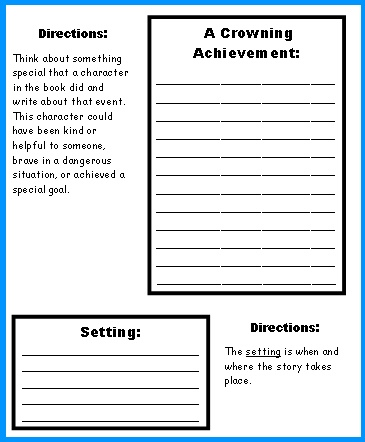 worksheets for writing a book report