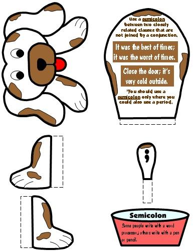 Semicolon Punctuation Mark Bulletin Board Display Grammar Resources Set