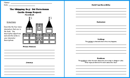 Whipping Boy Castle Project First Draft Writing Worksheets