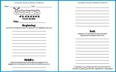 Spring Caterpillar Story Writing Worksheets First Drafts