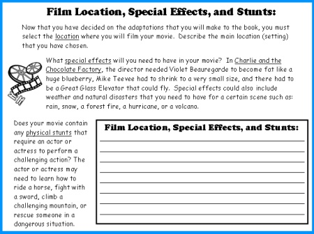 Movie Camera Book Report Projects: templates, worksheets, grading ...