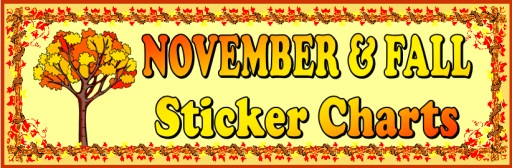 Fall and Thanksgiving Sticker Charts and Templates