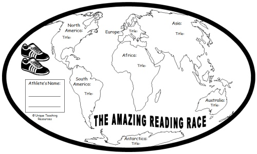 Amazing Reading Race Around the World Student Reading Map