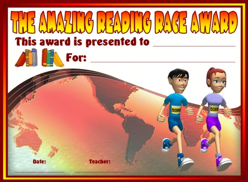 Amazing Reading Race Elementary Student Award Certificate