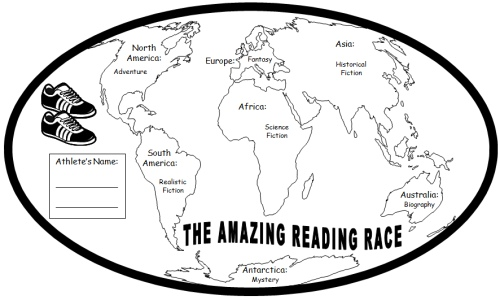 Amazing Reading Race Around the World Map for Elementary Students