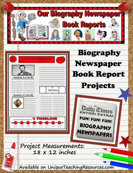 Engage your students in reading with these fun nonfiction biography newspaper book report projects!