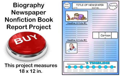 Creative Book Report Project Ideas:  Nonfiction Biography Newspaper Templates