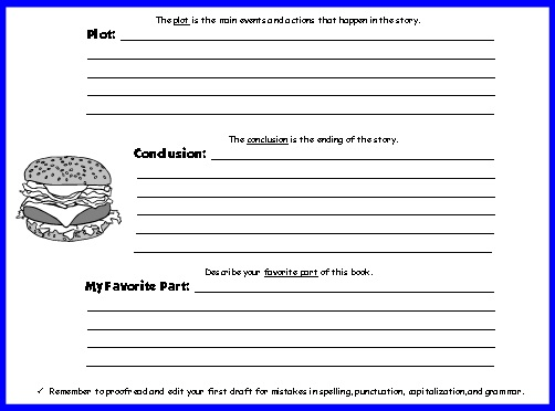 Cheeseburger Book Report Project Templates Printable Worksheets