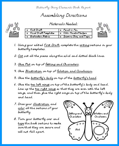 Butterfly Elementary Student Book Report Project Directions Worksheet