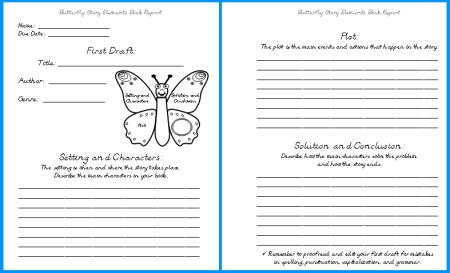 Butterfly Elementary Student Book Report Projects First Draft Writing Worksheets