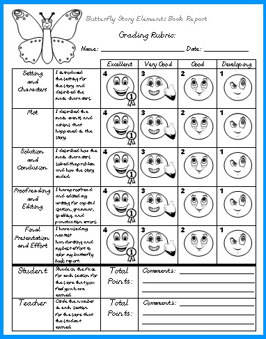 Butterfly Elementary Student Book Report Projects Grading Rubric