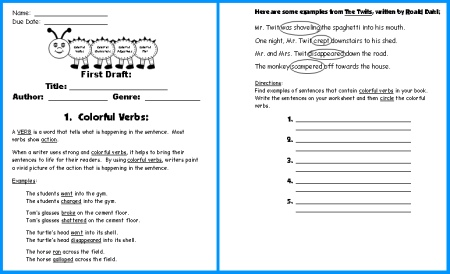 Caterpillar Book Report Project First Draft Writing Worksheets