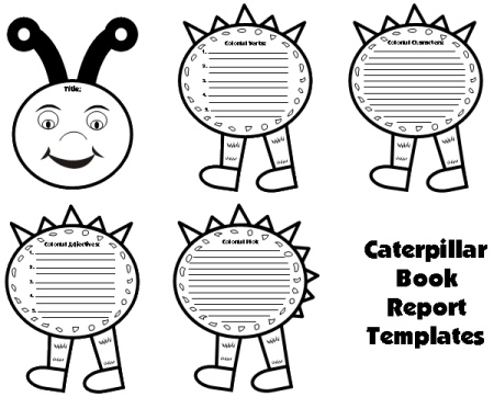Caterpillar Book Report Project: Templates, Worksheets, Grading