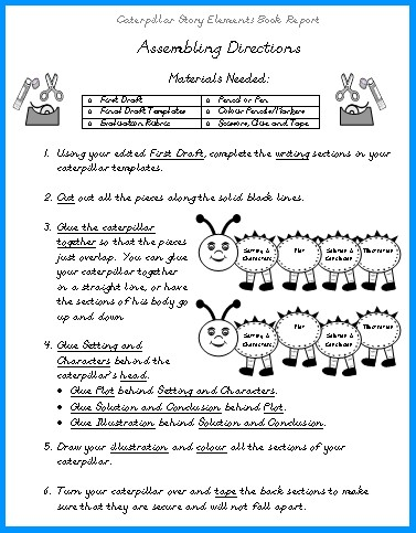 Caterpillar Elementary Student Book Report Project Directions Worksheet