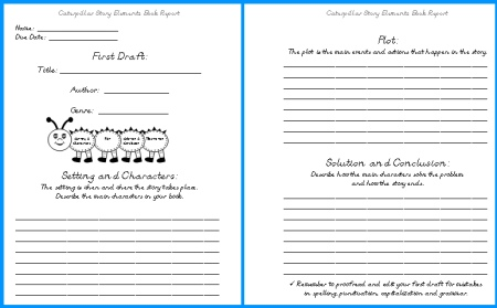 Caterpillar Elementary Student Book Report Project First Draft Writing Worksheets
