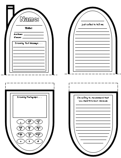 Cell Phone Book Report ProjectsTemplates and Worksheets Elementary School Students