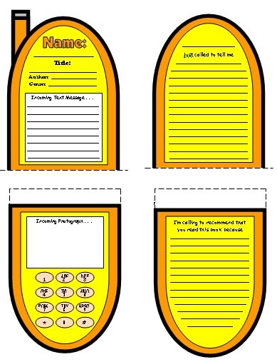 Cell phone book report project templates worksheets for Resource directory template
