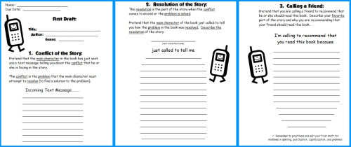Worksheet Matching Cell Phone Texting : Cell phone book report project templates worksheets