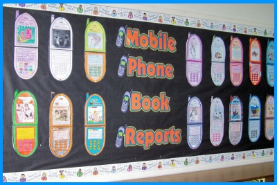 Cell Phone Book Report Projects Bulletin Board Display in classroom example